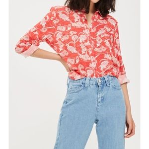 New Topshop Koi Fish Casual Button Up Blouse SZ 6